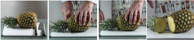 Neem een snijplank en een scherp, groot mes. Vervolgens legt u de ananas op zijn zij op de snijplank. Met het scherpe mes snijdt u nu eerst de groene kroon eraf. Draai de ananas op de snijplank en snij hierna een dik stuk van de steelaanzet, de onderkant, eraf.