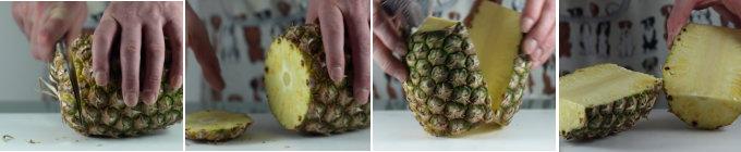 Zet de ananas rechtop en snij ze met het grootte mes in twee helften. Verwijder hierna het hart, de harde kern, van eerste halve ananas, omdat deze helemaal niet te eten is. Vervolgens doet u dit ook bij de ander ananashelft.Nu kunt u beginnen de ananasschil te verwijderen.